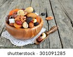Dried Fruits And Nuts Mix In A...
