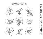 space icons | Shutterstock .eps vector #301104701