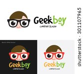 geek boy vector logo template | Shutterstock .eps vector #301107965