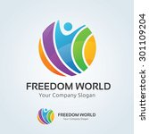 freedom world vector logo... | Shutterstock .eps vector #301109204