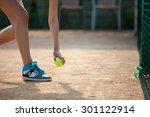 player's hand with tennis ball... | Shutterstock . vector #301122914