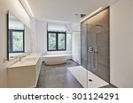 bathtub in corian  faucet and... | Shutterstock . vector #301124291