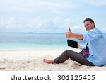 business man sitting and... | Shutterstock . vector #301125455