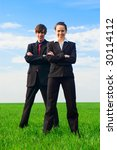 bright picture of successful business team - stock photo