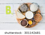 foods containing vitamin b 1 ... | Shutterstock . vector #301142681