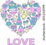 valentine card in pastel colors....   Shutterstock .eps vector #301143599