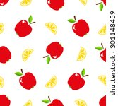 seamless pattern with fruits.... | Shutterstock .eps vector #301148459