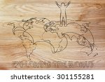 happy man standing on world map ... | Shutterstock . vector #301155281