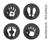 hand and foot print icons.... | Shutterstock .eps vector #301169621