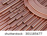spiral copper pipes and copper...   Shutterstock . vector #301185677