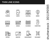 set of thin flat business... | Shutterstock .eps vector #301190585