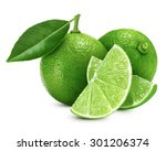 lime fruit with leaf isolated... | Shutterstock . vector #301206374