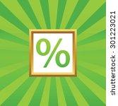 percent symbol in golden frame  ...