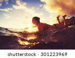 surfing at sunset. outdoor... | Shutterstock . vector #301223969