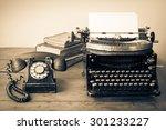 Old Retro Telephone  Typewrite...