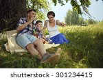 happy family. mother  father... | Shutterstock . vector #301234415