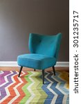 teal blue retro armchair and... | Shutterstock . vector #301235717