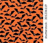 halloween pattern with bats.... | Shutterstock .eps vector #301236119