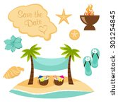 sandy beach save the date | Shutterstock .eps vector #301254845