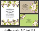 wedding invitation cards with... | Shutterstock .eps vector #301262141