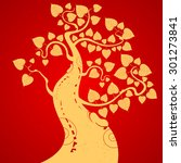 gold bodhi tree on a red... | Shutterstock .eps vector #301273841