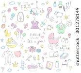 set of baby shower design... | Shutterstock .eps vector #301278149
