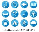 flat design icon fishing ... | Shutterstock .eps vector #301285415