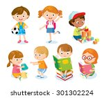 cute kids with toys and books | Shutterstock .eps vector #301302224