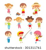 set of kids at the simple style | Shutterstock .eps vector #301311761