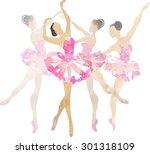 two watercolor ballerina...   Shutterstock .eps vector #301318109