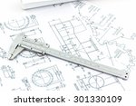 vernier scale on blueprint... | Shutterstock . vector #301330109