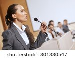 businesswoman standing on stage ... | Shutterstock . vector #301330547