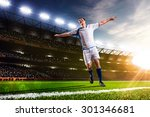 soccer player in action on... | Shutterstock . vector #301346681