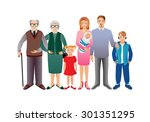 big happy family. father ...   Shutterstock . vector #301351295