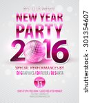 happy new year party poster.... | Shutterstock .eps vector #301354607