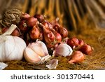 Vintage Garlic And Onion In...