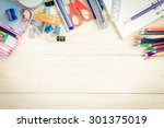 school and office supplies on... | Shutterstock . vector #301375019