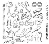 doodle sketch arrows set for... | Shutterstock .eps vector #301376477