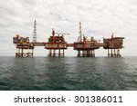 oil platform at cloudy day | Shutterstock . vector #301386011