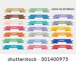vector set 20 ribbons | Shutterstock .eps vector #301400975