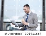 business  hot drinks and people ... | Shutterstock . vector #301411664