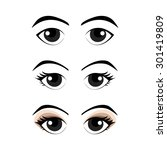 Set Of Cartoon Eyes  Vector...