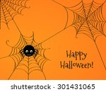 cute spider and webs over... | Shutterstock .eps vector #301431065