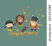 kids playing with autumn leaves.... | Shutterstock .eps vector #301431389