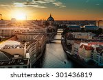 Stock photo view over berlin at sunset 301436819