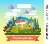 flat vector landscape tuscany... | Shutterstock .eps vector #301444409