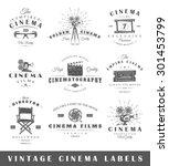 set of vintage cinema labels.... | Shutterstock . vector #301453799