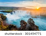 Godafoss Waterfall At Sunset ...
