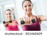 teen sporty girls at gym... | Shutterstock . vector #301460609