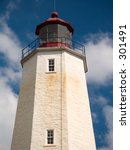 This is a historic lighthouse in Sandy Hook NJ, which dates back to the 1700's. - stock photo